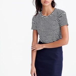 J. Crew navy blue and white stripe linen tee